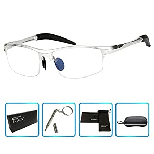 Beison Sports Optical Eyeglasses Frame Plain Glasses Clear Lens Rx (Silver, 58)