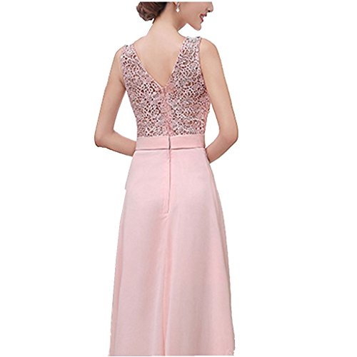 iShine Vestido Largo Elegantes sin Manga para Mujeres de Noche de la Boda Rosa