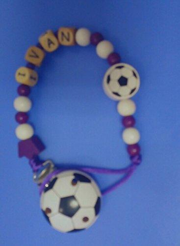 Cadena chupete Real Madrid Madera Personalizado: Amazon.es: Bebé