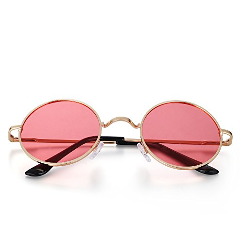 Menton Ezil Classic Small Round Fashon Metal Ozzy Elton Color Tint Style Polarized Sunglasses for Mens Womens April ()