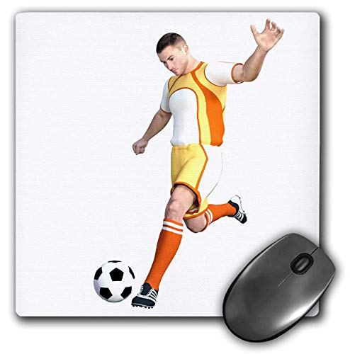 3dRose Boehm Graphics Sports - Soccer Player in Yellow and Orange and White Kicking Soccer Ball - Mousepad (mp_234174_1)