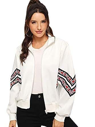 Milumia Women's Full Zip Letter Print Classic Fit Casual Jacket Coat White S