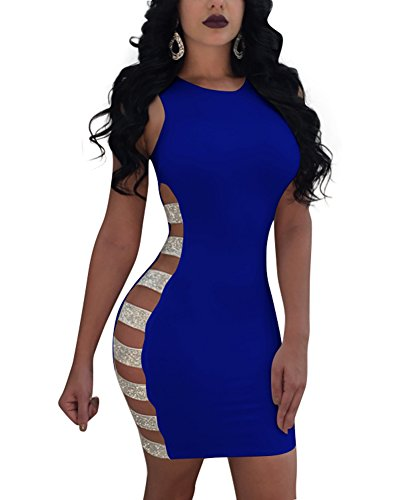 Mojessy Women's Sleeveless Hollow Out Sequins Bodycon Dress Clubwear XX-Large Royal Blue (Out Sexy Dress Side Cut)