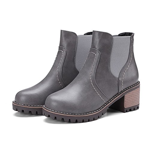 Toe AgooLar Women's Kitten Round Solid Boots Heels On Gray Pull PU 8ZgqwSf