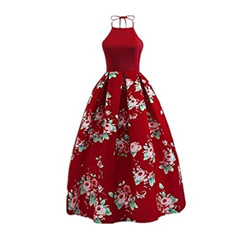 Fami Abito senza maniche floreale vintage a vita alta con bottoni vintage Hepburn a fiori Rosso