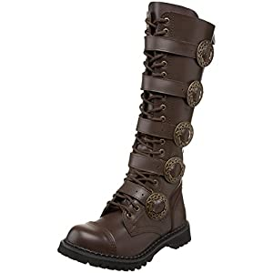 Summitfashions Mens Sizing Knee High Boots Brown Combat Boots Steampunk Hardware
