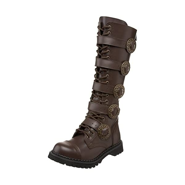 Summitfashions Mens Sizing Knee High Boots Brown Combat Boots Steampunk Hardware 3