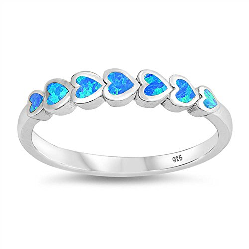 Oxford Diamond Co Sterling Silver Lab Simulated Blue Opal Heart Set Eternity Band Ring Sizes 8