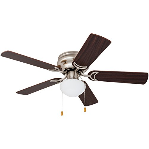 Prominence Home 80029-01 Alvina LED Globe Light Hugger/Low Profile Ceiling Fan, 42 inches, Brushed Nickel