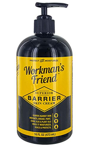 Workman's Friend Barrier Skin Cream - Moisturizes & Provides Superior Hand Skin Barrier Protection from Grease, Glue, Dirt, Paint and Oils - Pump Bottle, 16 - Protection Lotion Hand