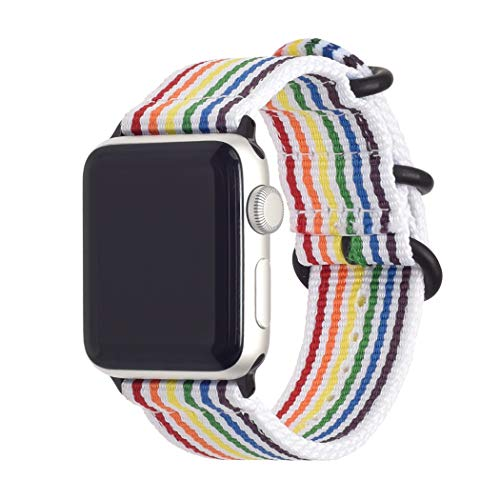 (SIFEIRUI Compatible with Apple Watch Band 38mm 40mm Rainbow LGBT Pride Flag Stripe Nylon Strap for iWatch Series 4,3,2,1 Sports Edition Black Stainless Steel Buckle)