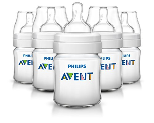 Philips Avent Anti-Colic Baby Bottles Clear, 4oz, 5 ()