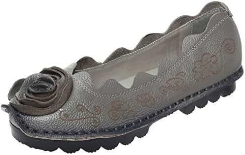 Mordenmiss Women's Fall New Flat Flower Pattern Shoes