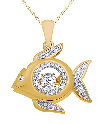 Diamond Accent Fish Pendant - Wishrocks Round Cut White Natural Diamond Accent Fish Pendant Necklace in 14K Yellow Gold Over Sterling Silver