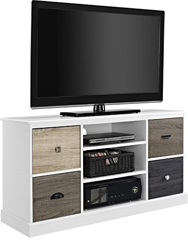 Tv Stand For Flat Screens Premium Rustic White Wood Console Low Entertainment Center 50 Inch With Cabinets