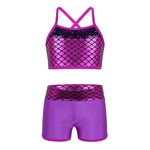 Yeahdor Big Girls' 2 Piece Athletic Dance Outfits Sequined Bra Crop Top with Booty Shorts Set Performance Costumes Rose Red Mermaid Scales 5-6]()