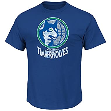NBA Minnesota Timberwolves 1989-95 Men's T Wolves Weathered Post Up Kaa Short Sleeve Basic Crew Neck T-Shirt, Royal, Large