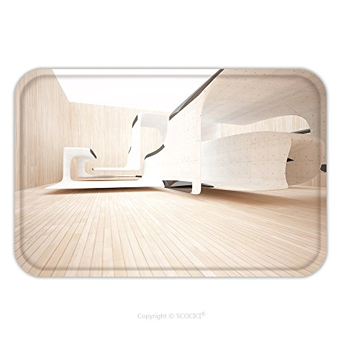 on-slip Rubber Backing Soft Absorbent Doormat Mat Rug Carpet Abstract Interior Of Wood Concrete Sculpture With Black Glass D Illustration And Rendering 522636637 for Indoor/Outdoor (Oriental Glass Sculpture)