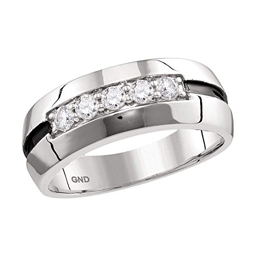 Jewels By Lux 10kt White Gold Mens Round Diamond Wedding Black Groove Band Ring 1/2 Cttw Ring Size 11