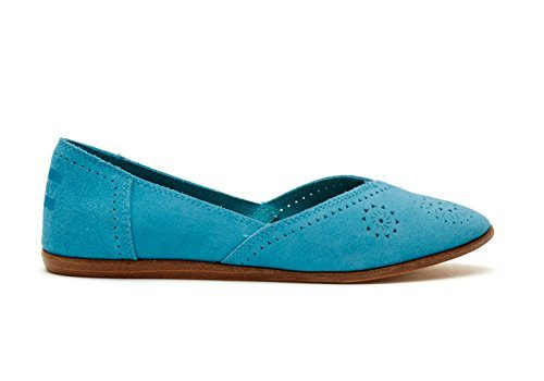 TOMS Women's Suede Perforated Jutti Flats in Turquoise Size 6 10007789-430