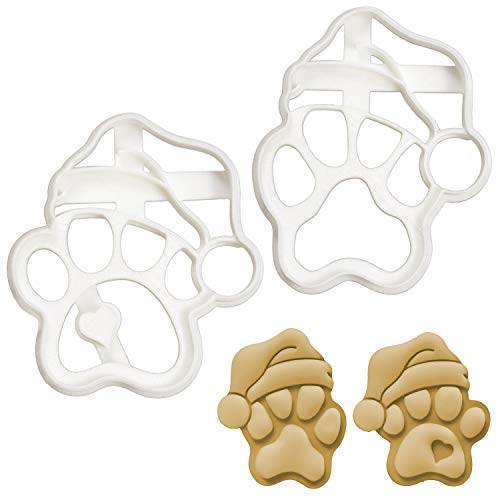 Set of 2 Santa Paw cookie cutters (Designs: Cute and Realistic), 2 pieces - Bakerlogy