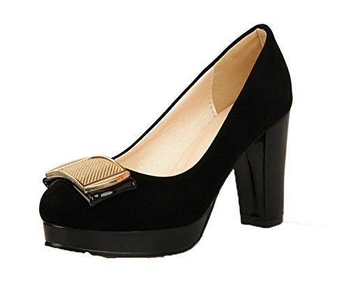 scarpe Delle Nere toe Pompe Alti tacchi Solidi Round on Amoonyfashion Donne Pull pqxF7p