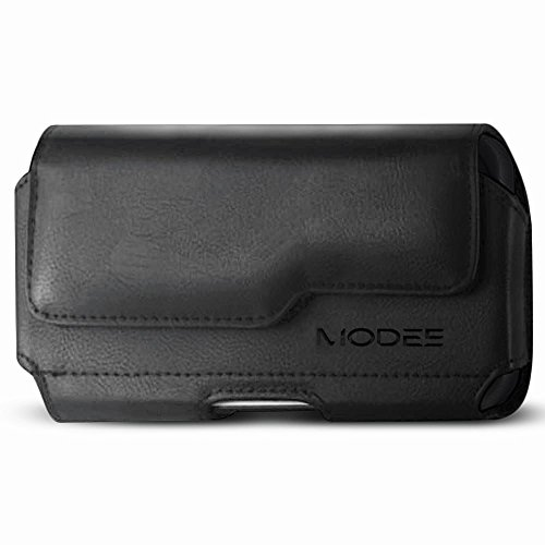 Kuteck Horizontal Leather Holster Carry Pouch Case For Motorola Moto Z Play, Moto Z Play Droid, Moto Z Force, Moto Z Droid(with Otter box / Heavy Duty Case ON) (Premium Black) (Leather Soft Motorola Case Carry)