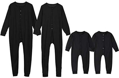 Loalirando Overall pyjama lange mouwen pyjama katoen familie heren dames kinderen kleur effen