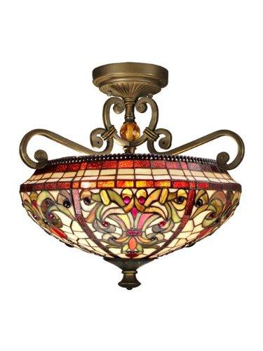 Dale Tiffany Flush - Dale Tiffany TH13090 Baroque Semi Flush Mount Light Fixture, Antique Golden Sand