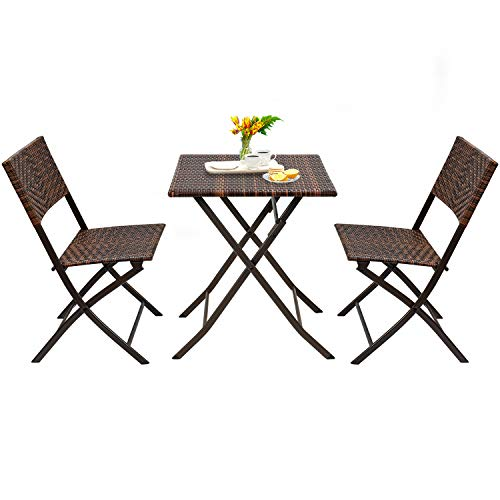 Devoko Patio Bistro Sets Deck Folding Dining Chair & Table 3 Pieces Outdoor Garden Poolside Beach Using Table and Chairs (Brown)