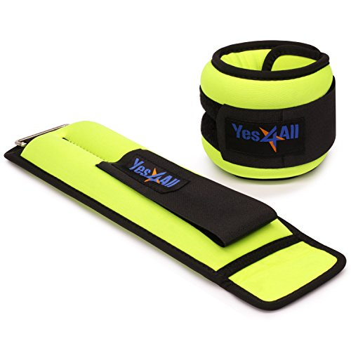 Yes4ll 3 lbs Ankle Weights/Wrist Weights for Women and Men - Fully Adjustable Leg Weights for Walking, Fitness, Cardio Exercise (3 lbs x2, Lime)