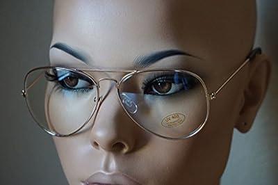 Aviator GOLD STAR Retro Vintage Top Gun Clear Lens Eyeglasses Gold