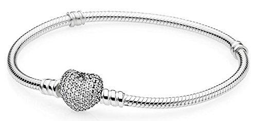PANDORA 590727CZ-21 Pave Heart Clasp Bracelet 8.3 Inch