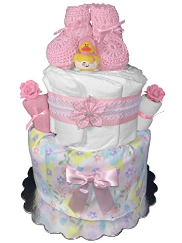 Pink Booties Diaper Cake for a Girl - Baby Shower Gift - 2-Tier Centerpiece from Sunshine Gift Baskets