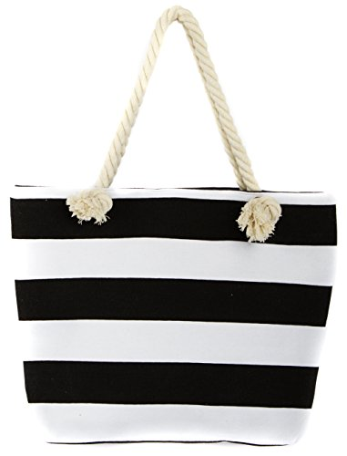 (Leisureland Canvas Tote Beach Bag, Rope Handle Water Resistant Shoulder Bag (Black Stripe))