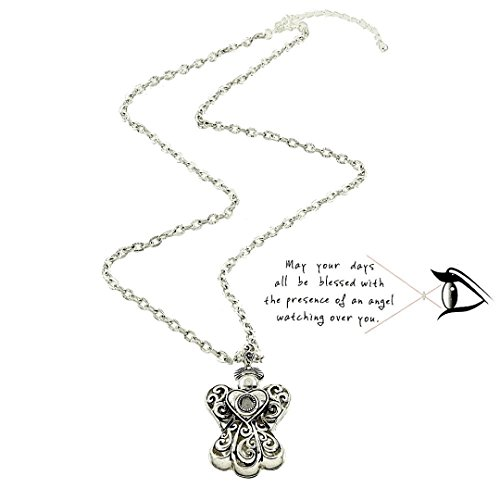 Guardian Angel Necklace BN Prayer Magnified Message Silver Tone Long by Recyclebabe Necklaces