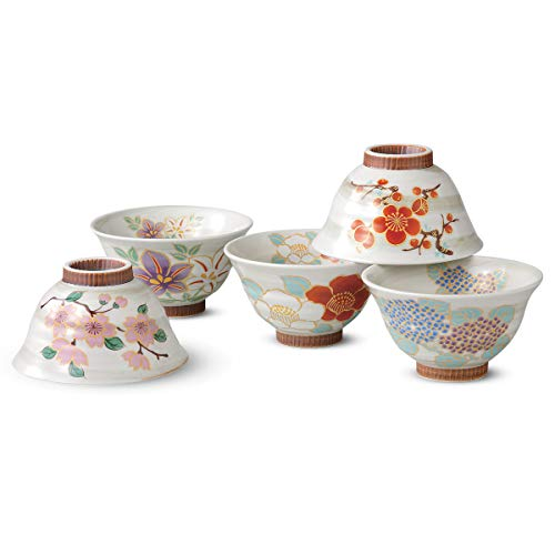 - Japanese Arita ware Rice bowl set Ninseifuegawari(Rice bowl 5pcs)