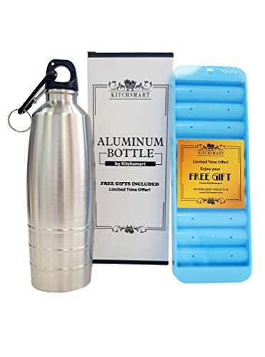 Kitchsmart Aluminum Water Bottle with Plastic Screw Lid Looped on the Top, Silver Lines, 25oz