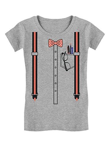 Tstars TeeStars - Halloween Nerd Geek Easy Costume Toddler/Kids Girls' Fitted T-Shirt 5/6 - Nerd Girl Easy Costume