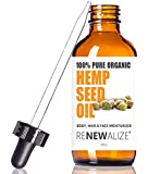 Organic HEMP SEED OIL Facial Moisturizer by Renewalize in LARGE 4 OZ. DARK GLASS BOTTLE   100% Pure Cold Pressed and Unrefined   Great Daily Skin Moisturizer for Acne Prone Skin , Will Not Clog Pores
