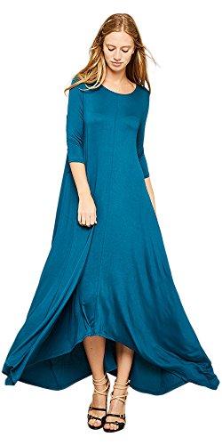 e5e940874f Tabeez Women s Long Loose Casual Asymmetrical Oversize Handkerchief Hem Jersey  Maxi Dress (Made in The