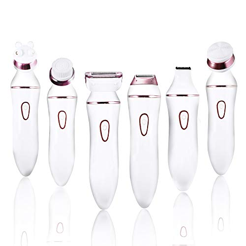 Ladies Electric Shaver, 6 in 1 Rechargeable Facial Razor, Bikini Trimmer,...