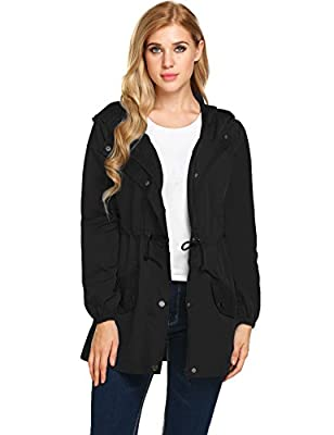Unibelle Women Casual Raincoats Active Outdoor Hooded Long Sleeve Rainproof Windproof Lightweight Jacket