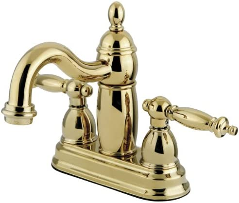 Kingston Brass KB7902TL Templeton 4-Inch Centerset Lavatory Faucet with Brass Pop-Up, Polished Brass
