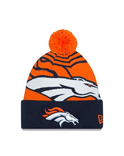 New Era NFL Denver Broncos Logo Whiz Pom Beanie, One Size, Orange