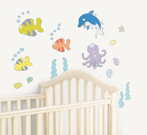 FunToSee Undersea Adventure Nursery, Bedroom and Bathroom Wall Decals, Underwater