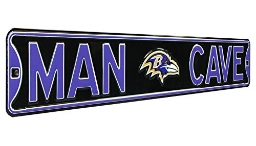 NFL Baltimore Ravens MAN CAVE, Heavy Duty, Steel Road Sign