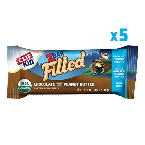 CLIF KID ZBAR Filled – Organic Energy Bar – Chocolate Peanut Butter – (1.06 Ounce Snack Bar, 5 Count)(Packaging May Vary)