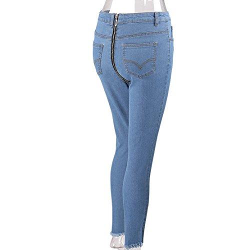 Femmes Zipper Jeans Poches Skinny Couleur Clair Taille avec Crayon Bleu Haute Fashion Broderie Pantalons Unie Personnalit rnzpIrO
