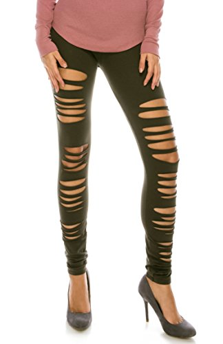 CNC Style Women Full Length Cut Out Rip Distressed Elastic Pull on Stretch Stretch Yoga Leggings Tights S to Plus, Small, Olive